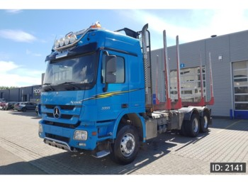 Camion trasporto legname Mercedes-Benz Actros 3355 F04, Euro 5, full steel suspension